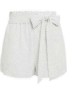 Alice + Olivia Woman Belted Polka-dot Crepe Shorts White