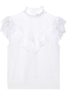 Alice + Olivia Woman Beth Ruffle-trimmed Chantilly Lace And Stretch-wool Top Off-white