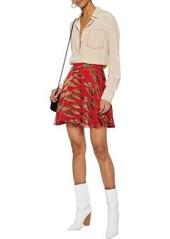 Alice + Olivia Woman Blaise Appliquéd Chiffon Mini Skirt Red