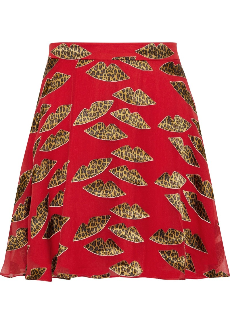 Alice + Olivia Woman Blaise Appliquéd Chiffon Mini Skirt Red