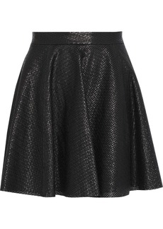 Alice + Olivia Woman Blaise Perforated Leather Mini Skirt Black
