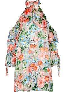Alice + Olivia Woman Blayne Cold-shoulder Floral-print Fil Coupé Mini Dress Multicolor