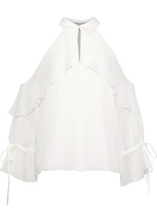 Alice + Olivia Woman Blayne Cold-shoulder Ruffled Silk-chiffon Blouse Off-white