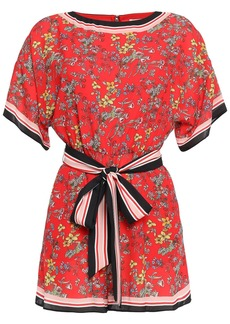 Alice + Olivia Woman Bowie Belted Printed Crepe De Chine Playsuit Red