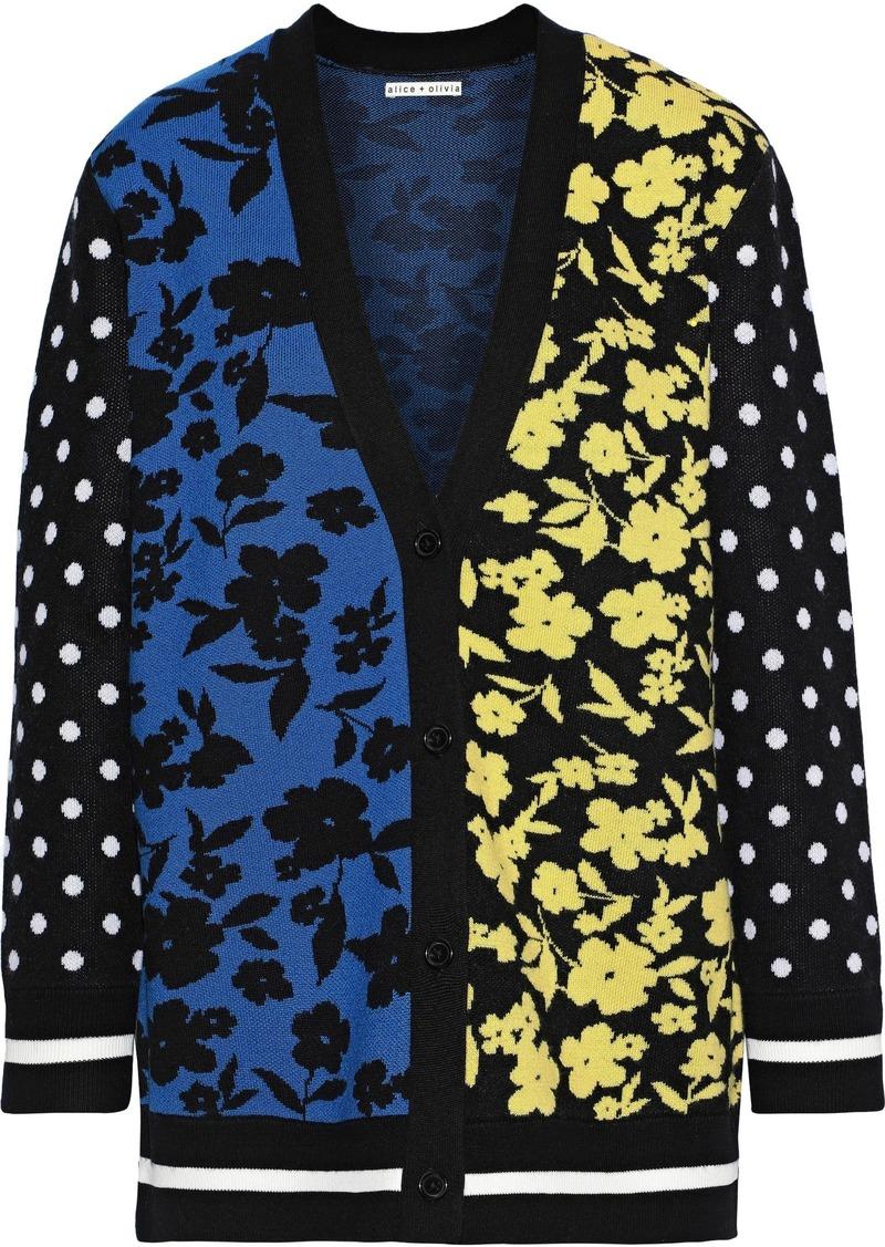 Alice + Olivia Woman Bradford Wool-blend Jacquard Cardigan Black