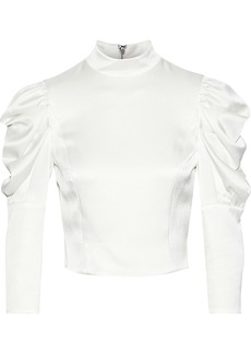 Alice + Olivia Woman Brenna Cropped Gathered Satin-crepe Blouse Off-white