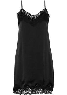 Alice + Olivia Woman Brighton Lace-trimmed Stretch-silk Satin Mini Slip Dress Black