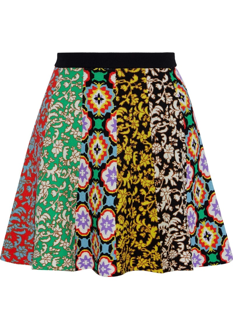 Alice + Olivia Woman Bunnie Jacquard-knit Mini Skirt Multicolor