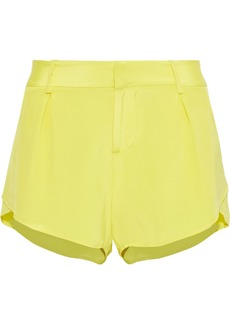 Alice + Olivia Woman Butterfly Silk Crepe De Chine Shorts Yellow