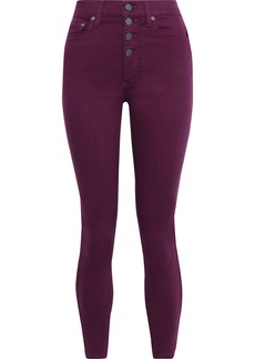 Alice + Olivia Woman Button-detailed High-rise Skinny Jeans Plum