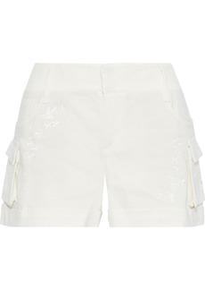 Alice + Olivia Woman Cady Embroidered Gauze Shorts Ivory