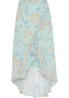 Alice + Olivia Woman Caily Wrap-effect Floral-print Georgette Skirt Mint