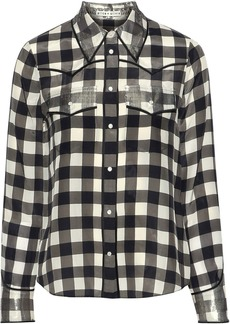Alice + Olivia Woman Caleb Metallic-trimmed Gingham Silk Shirt Multicolor