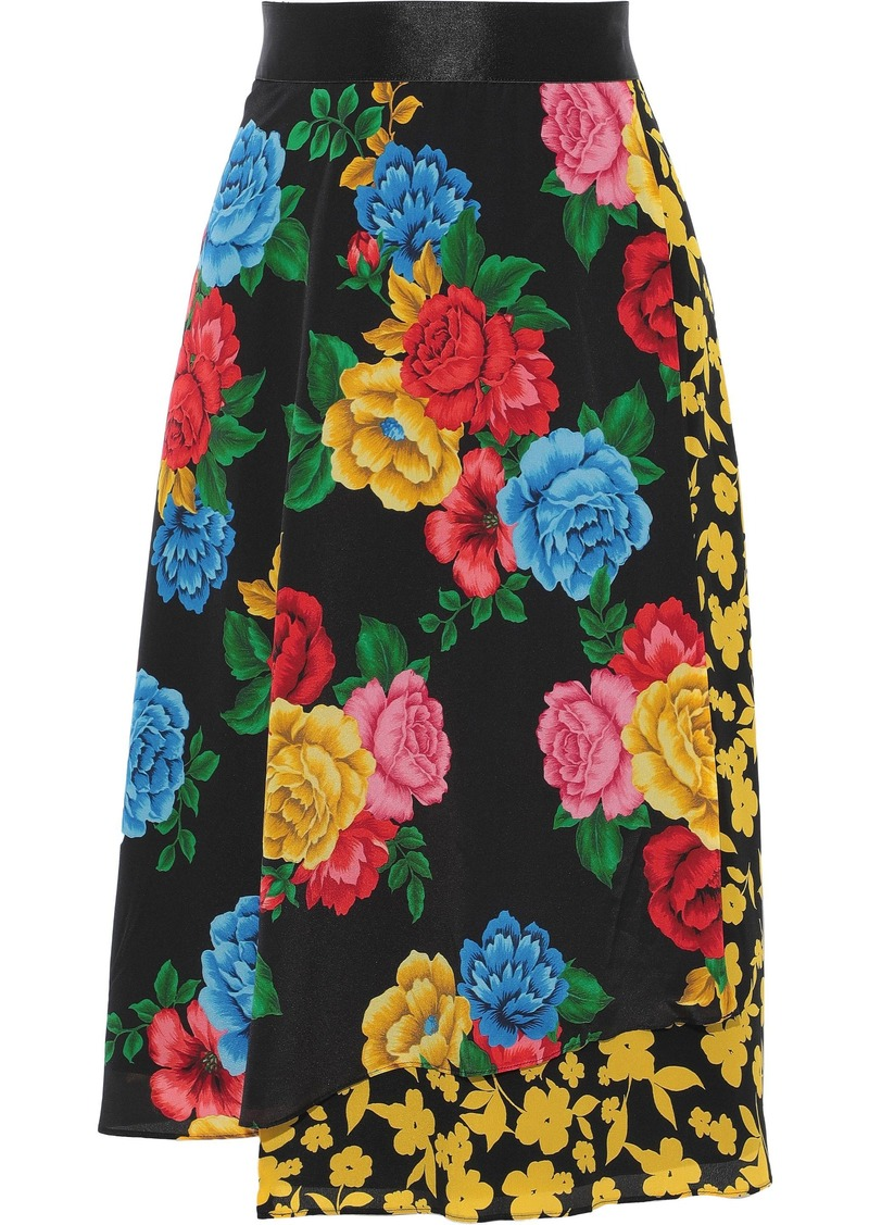 Alice + Olivia Woman Camellia Wrap-effect Floral-print Silk Crepe De Chine Skirt Multicolor
