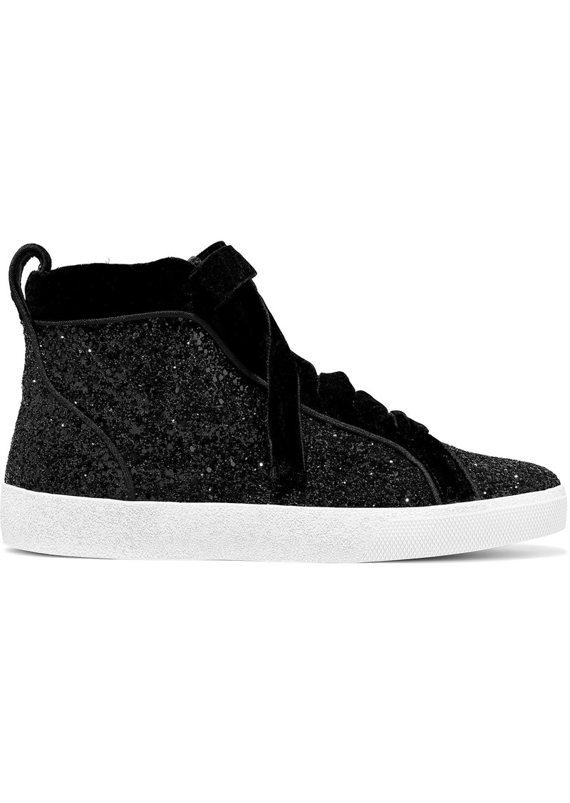 Alice + Olivia Woman Camil Velvet-trimmed Glittered Woven High-top Sneakers Black