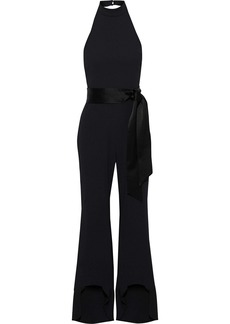 Alice + Olivia Woman Carmel Flared Belted Crepe Halterneck Jumpsuit Black