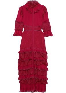 Alice + Olivia Woman Carmina Tiered Pintucked Chiffon And Corded Lace Maxi Dress Magenta