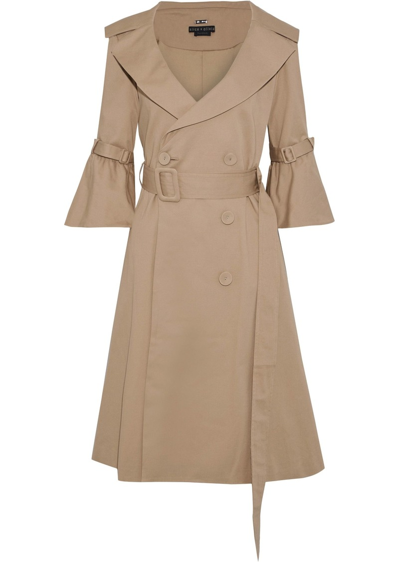 Alice + Olivia Woman Carver Belted Pleated Cotton-blend Twill Trench Coat Sand