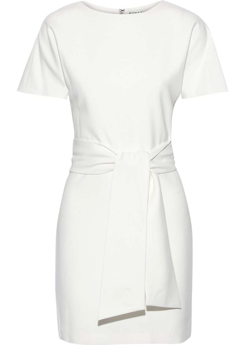 Alice + Olivia Woman Caven Belted Cady Mini Dress Off-white
