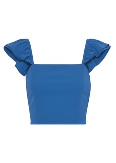 Alice + Olivia Woman Celestia Cropped Ruffle-trimmed Crepe Top Cobalt Blue