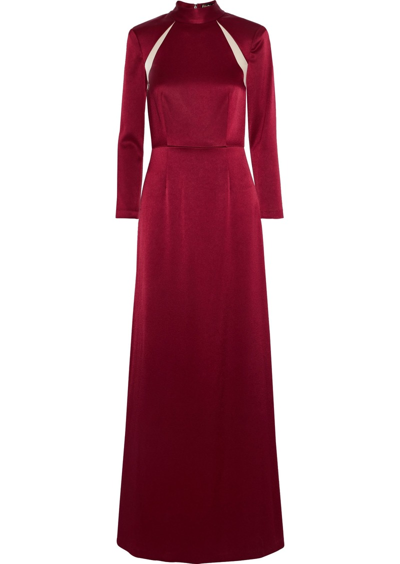 Alice + Olivia Woman Charita Chiffon-trimmed Satin Gown Crimson