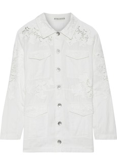 Alice + Olivia Woman Charline Guipure Lace-paneled Embroidered Twill Jacket Ivory