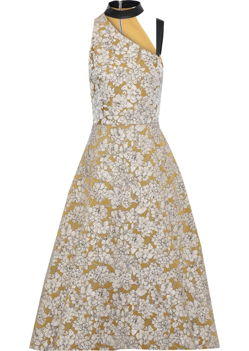 Alice + Olivia Woman Chrissy Cutout Leather-trimmed Floral-jacquard Midi Dress Saffron