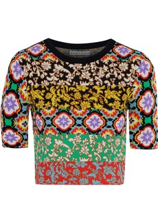 Alice + Olivia Woman Ciara Cropped Jacquard-knit Top Multicolor