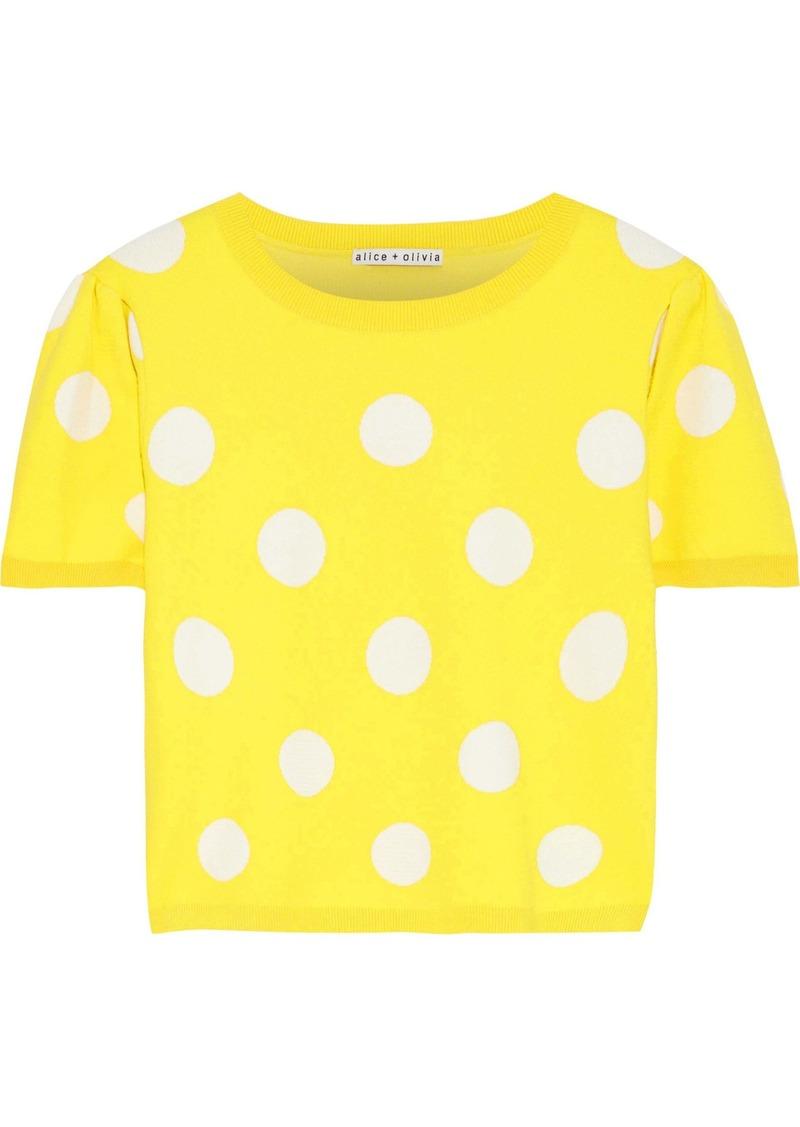 Alice + Olivia Woman Ciara Cropped Polka-dot Jacquard-knit Sweater Yellow