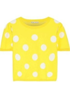 Alice + Olivia Woman Ciara Cropped Polka-dot Jacquard-knit Sweater Yellow