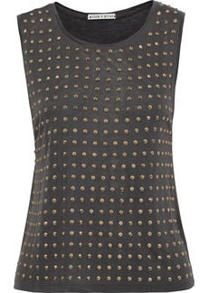 Alice + Olivia Woman Cicely Studded Cotton And Micro Modal-blend Jersey Tank Black