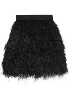 Alice + Olivia Woman Cina Feather-embellished Tulle Mini Skirt Black