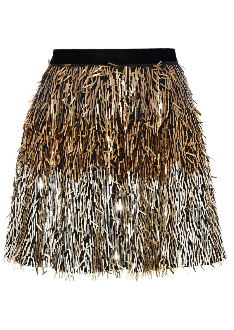 Alice + Olivia Woman Cina Sequined Tulle Mini Skirt Gold