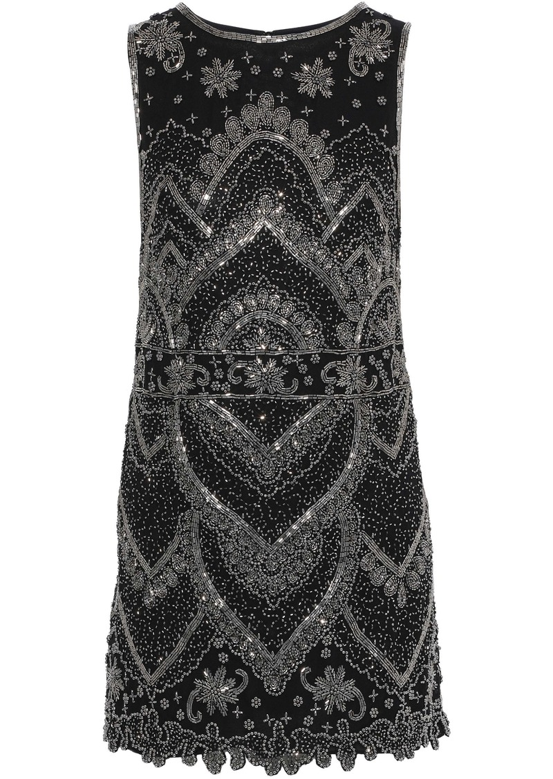 Alice + Olivia Woman Clyde Bead-embellished Georgette Mini Dress Black