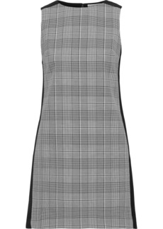 Alice + Olivia Woman Clyde Prince Of Wales Checked Woven And Cady Mini Dress Black