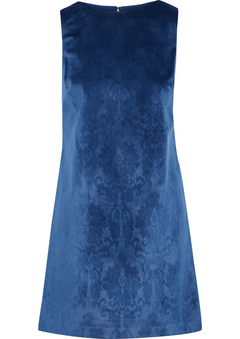Alice + Olivia Woman Clyde Printed Velvet Mini Dress Indigo