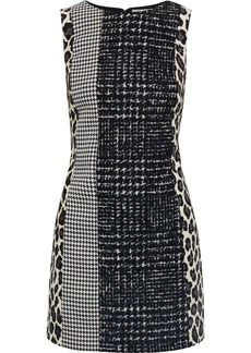 Alice + Olivia Woman Clyde Wool-blend Tweed Houndstooth Woven And Leopard-jacquard Mini Dress Black