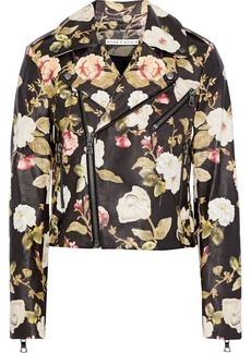 Alice + Olivia Woman Cody Cropped Floral-print Leather Biker Jacket Multicolor