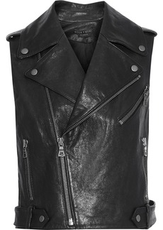 Alice + Olivia Woman Cody Cropped Leather Biker Vest Black