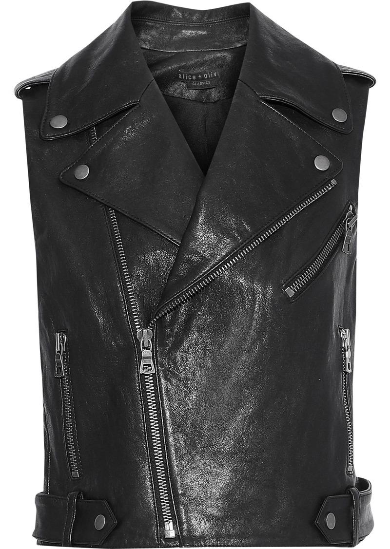 Alice + Olivia Woman Cody Cropped Leather Biker Vest Black