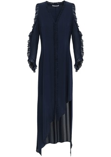 Alice + Olivia Woman Cold-shoulder Ruffle-trimmed Silk-blend Georgette Dress Navy