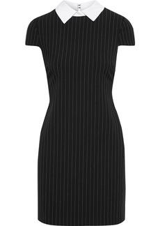Alice + Olivia Woman Coley Pinstriped Twill Mini Dress Black