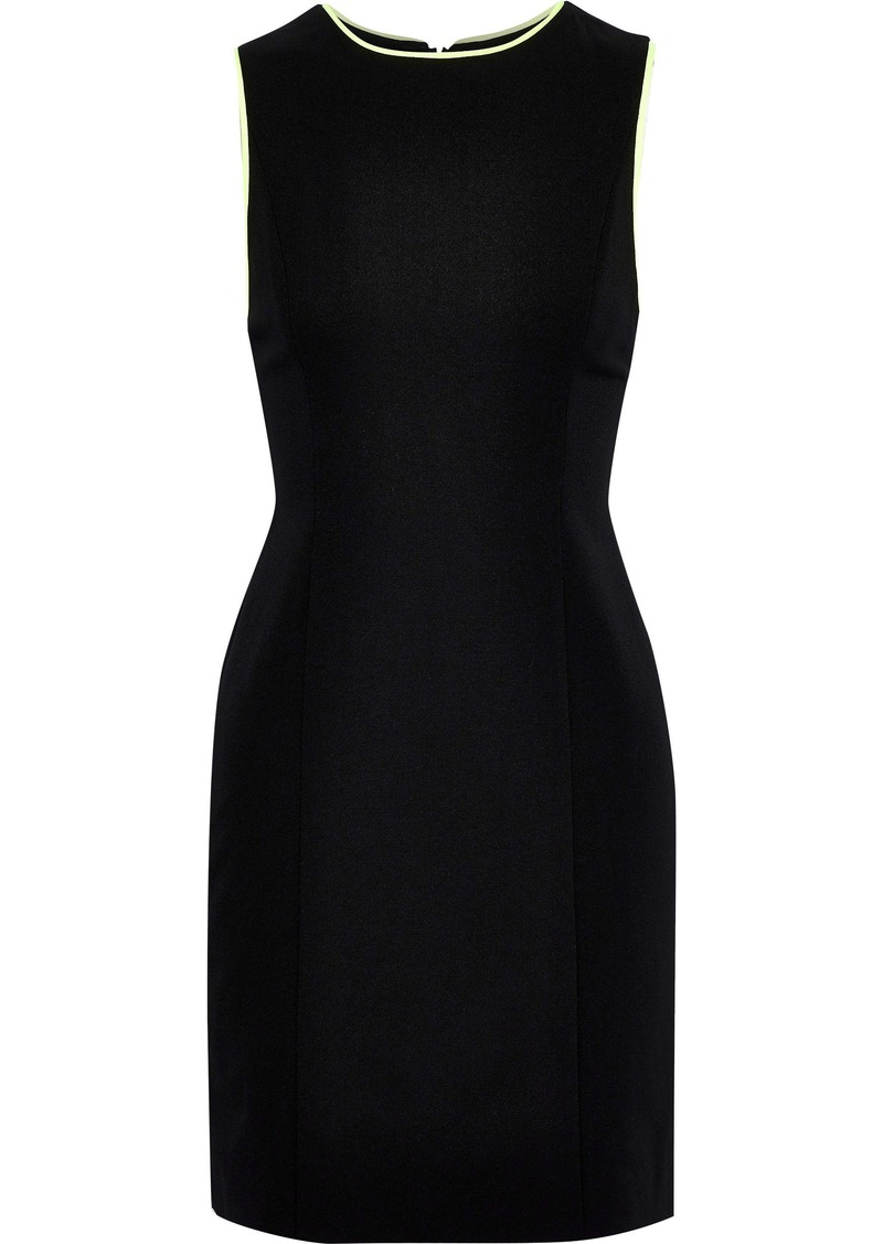 Alice + Olivia Woman Colin Neon-trimmed Crepe Mini Dress Black