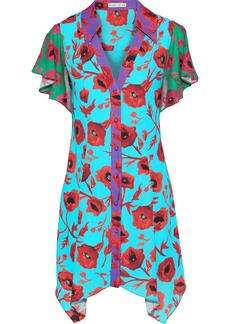 Alice + Olivia Woman Conner Floral-print Color-block Washed-crepe Mini Dress Turquoise