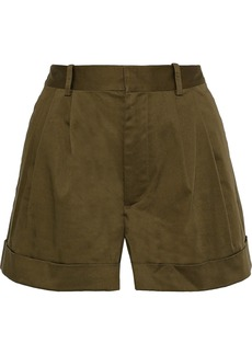 Alice + Olivia Woman Conry Pleated Stretch-cotton Shorts Army Green