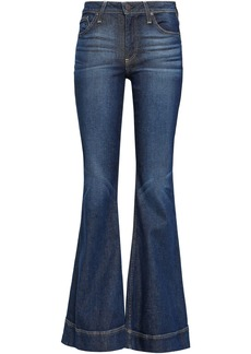 Alice + Olivia Woman Cosmic Dancer Faded Mid-rise Flared Jeans Dark Denim