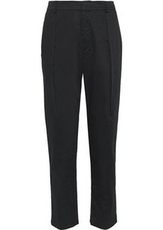 Alice + Olivia Woman Cotton-blend Sateen Tapered Pants Black