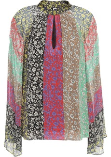 Alice + Olivia Woman Crepon-paneled Color-block Floral-print Crepe De Chine Blouse Red
