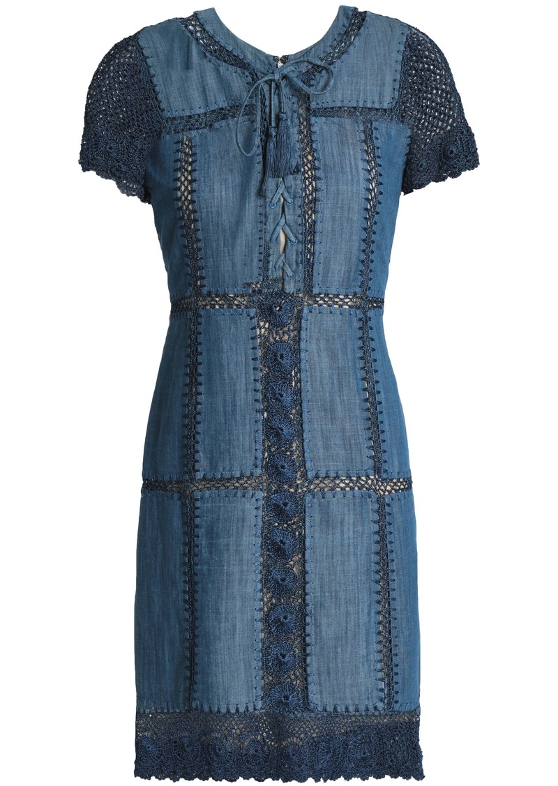 Alice + Olivia Woman Crochet-trimmed Cotton-blend Chambray Dress Blue