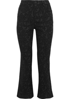 Alice + Olivia Woman Cropped Cotton-blend Brocade Bootcut Pants Black